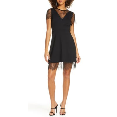 French Connection Madalyn Lula Lace Trim Cocktail Dress, Black