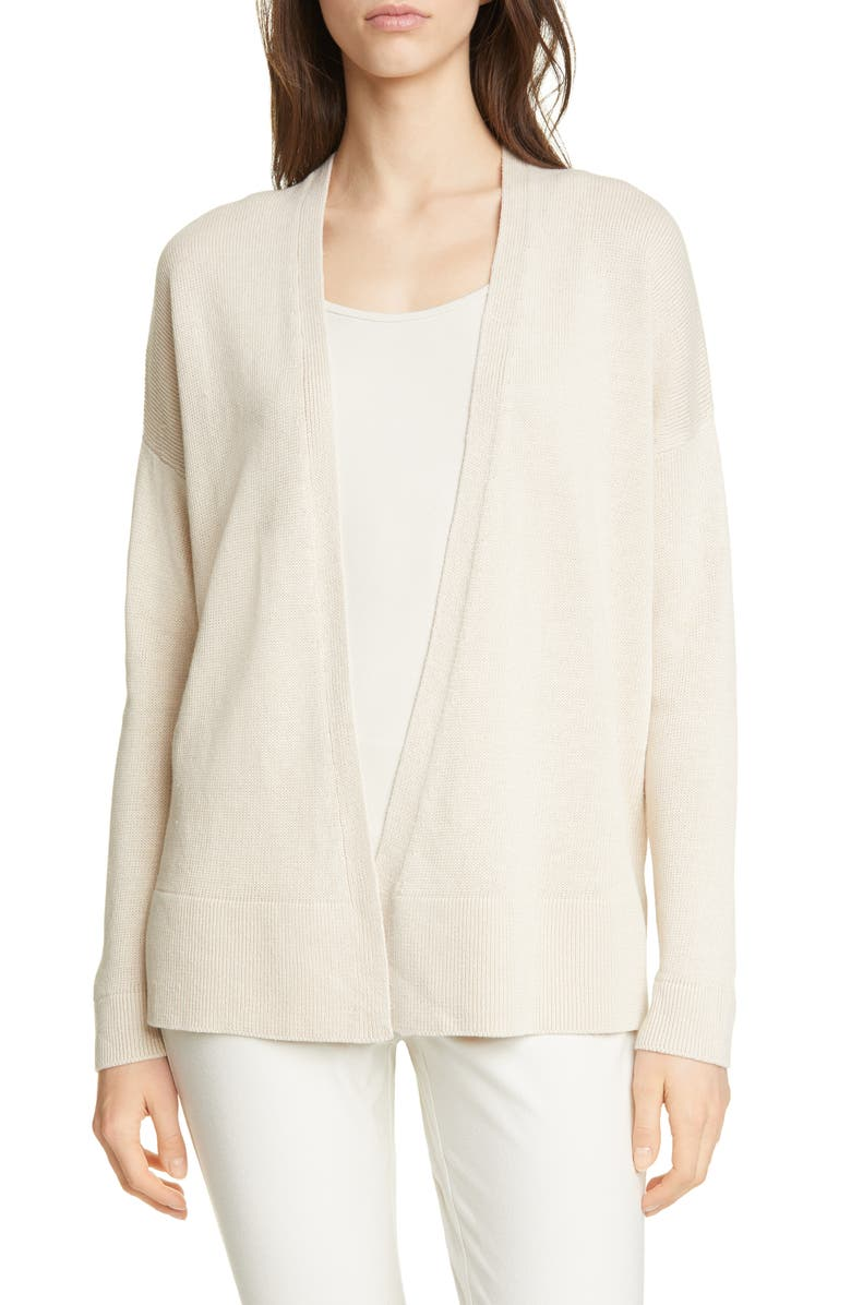 EILEEN FISHER Linen & Cotton Open Cardigan, Main, color, NATURAL