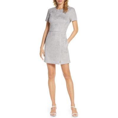 French Connection Patty Short Sleeve Suedette Dress, Grey