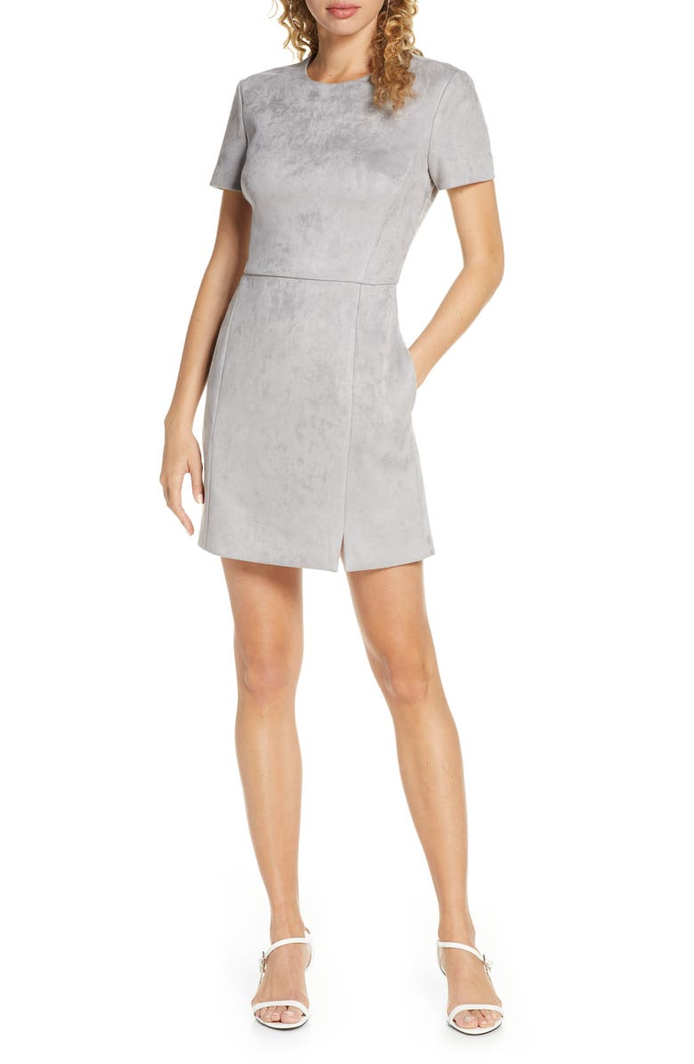 FRENCH CONNECTION Patty Short Sleeve Suedette Dress, Main, color, SKYON GREY