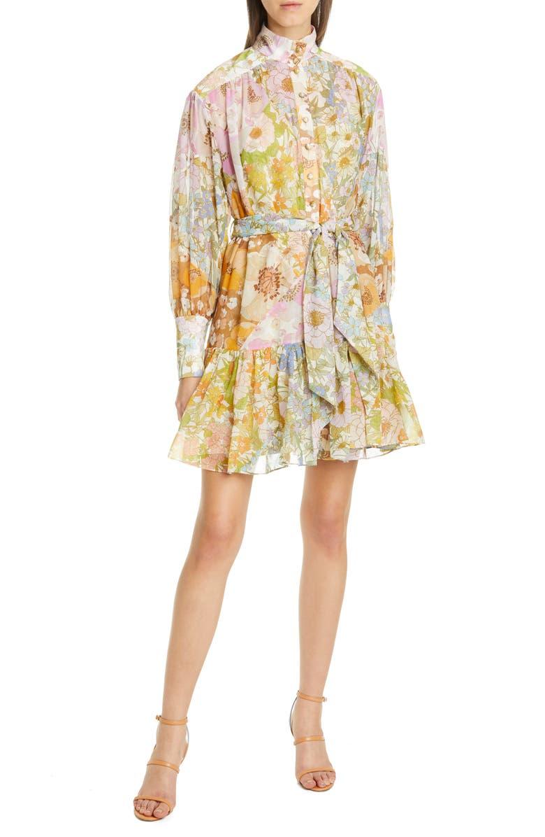 ZIMMERMANN Super Eight Floral Print Long Sleeve Lantern Minidress, Main, color, MIXED FLORAL