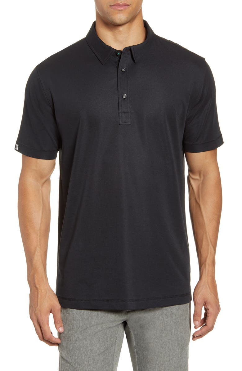 LINKSOUL Three-Button Performance Polo, Main, color, BLACK