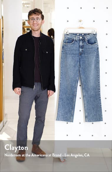 Ruth Super High Waist Raw Hem Straight Leg Jeans, sales video thumbnail