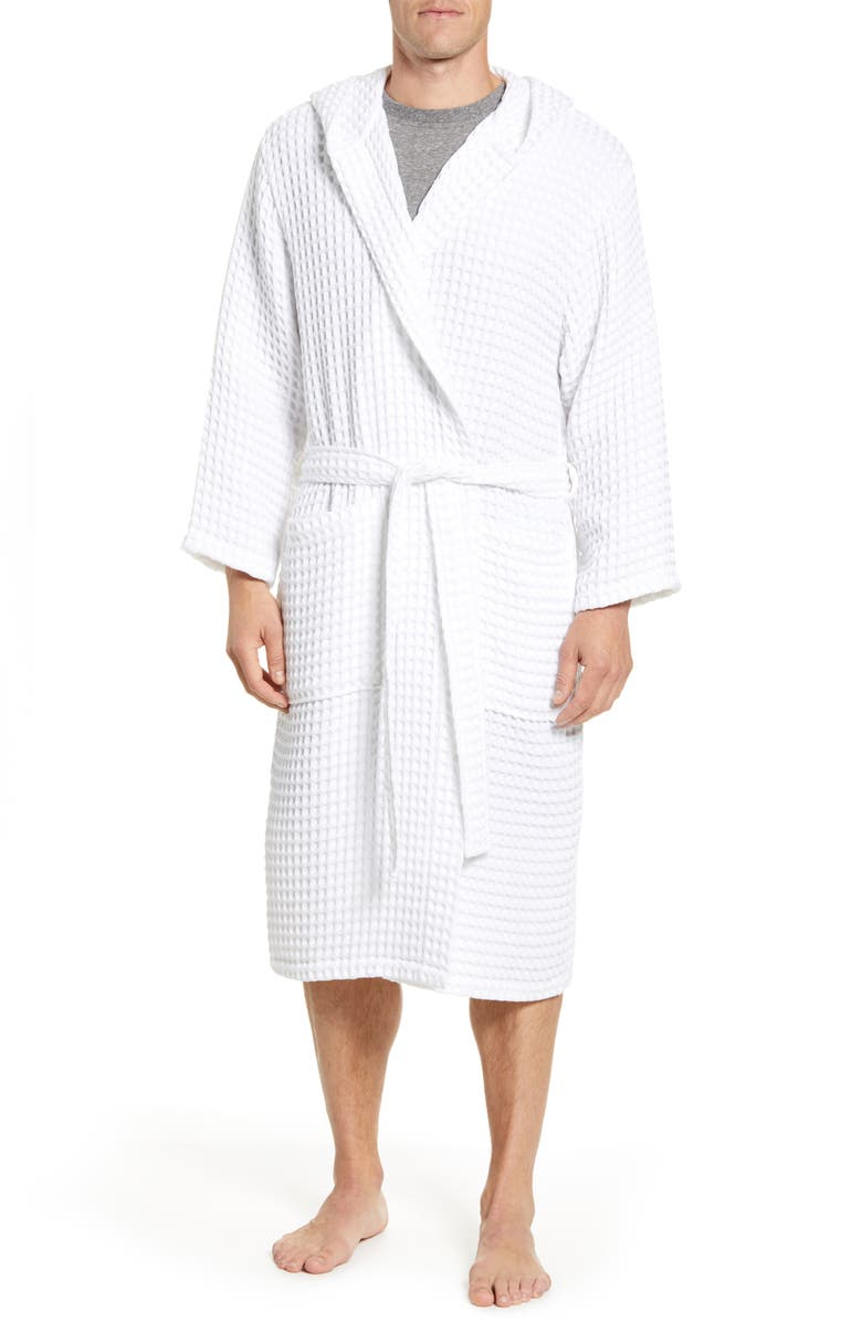 DANIEL BUCHLER Hooded Waffle Knit Cotton Robe, Main, color, WHITE