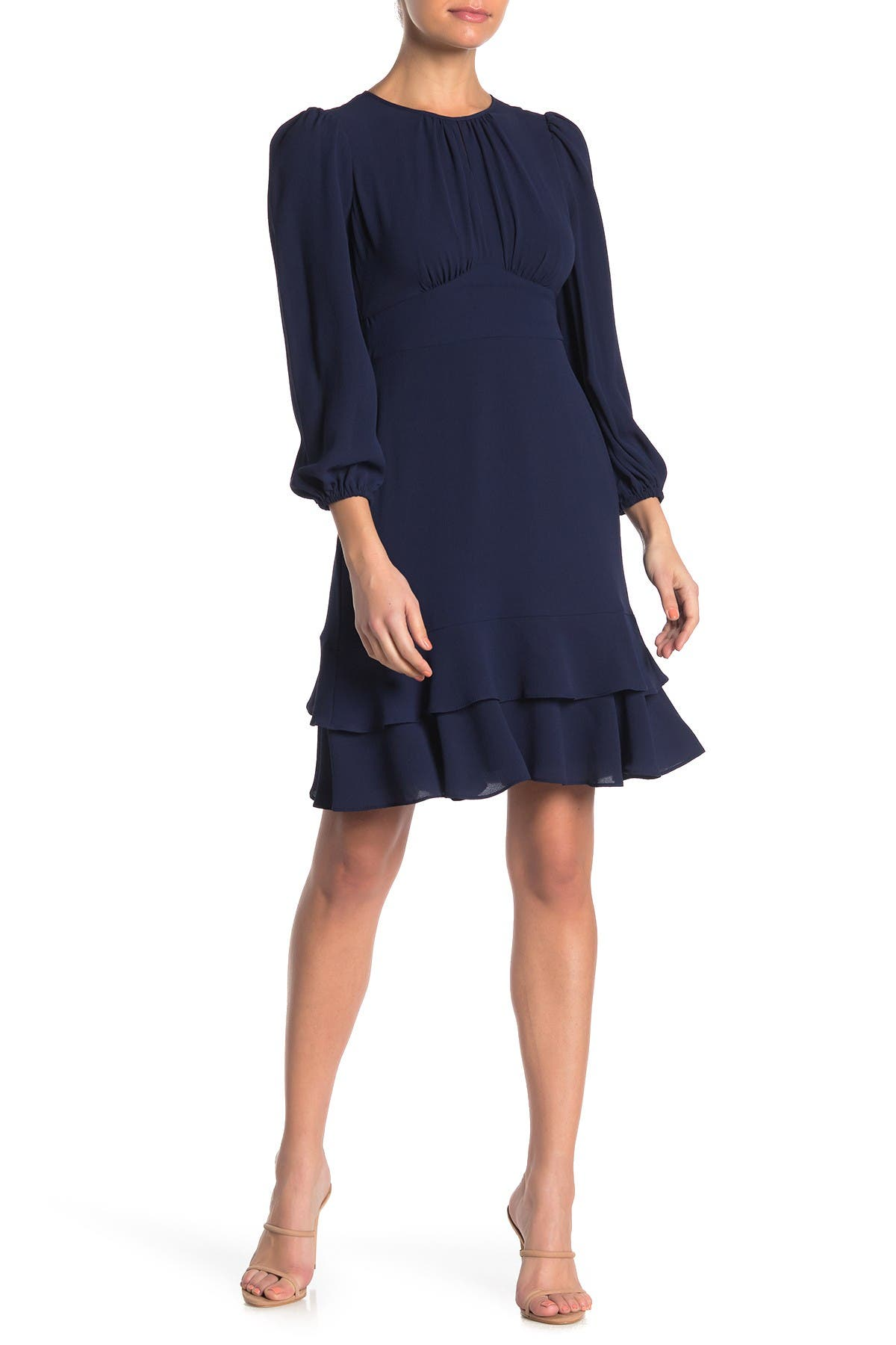Image of London Times Puff Sleeve Ruffle Hem Dress