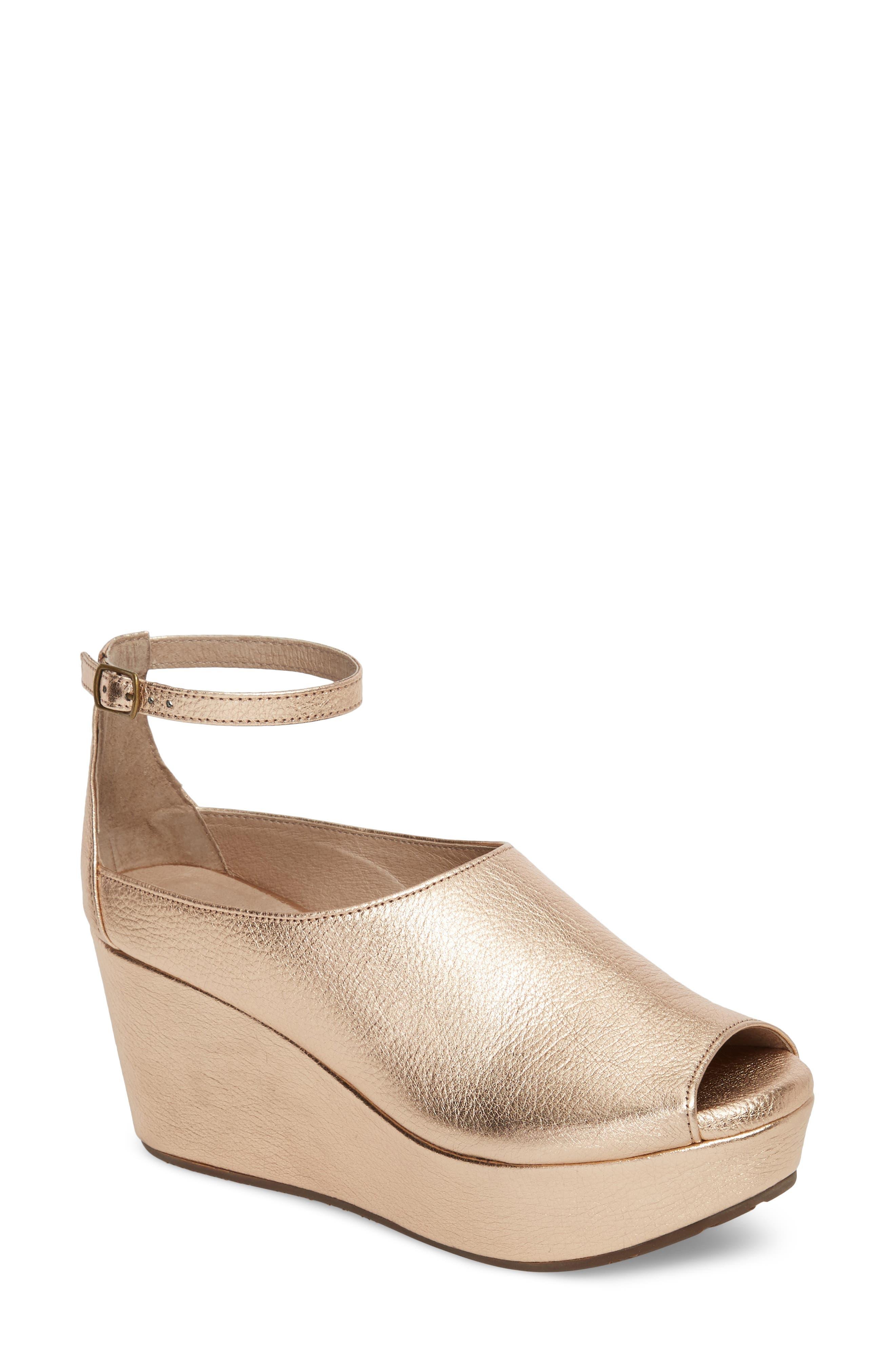 Chocolat Blu Walter Ankle Strap Wedge Sandal, Metallic