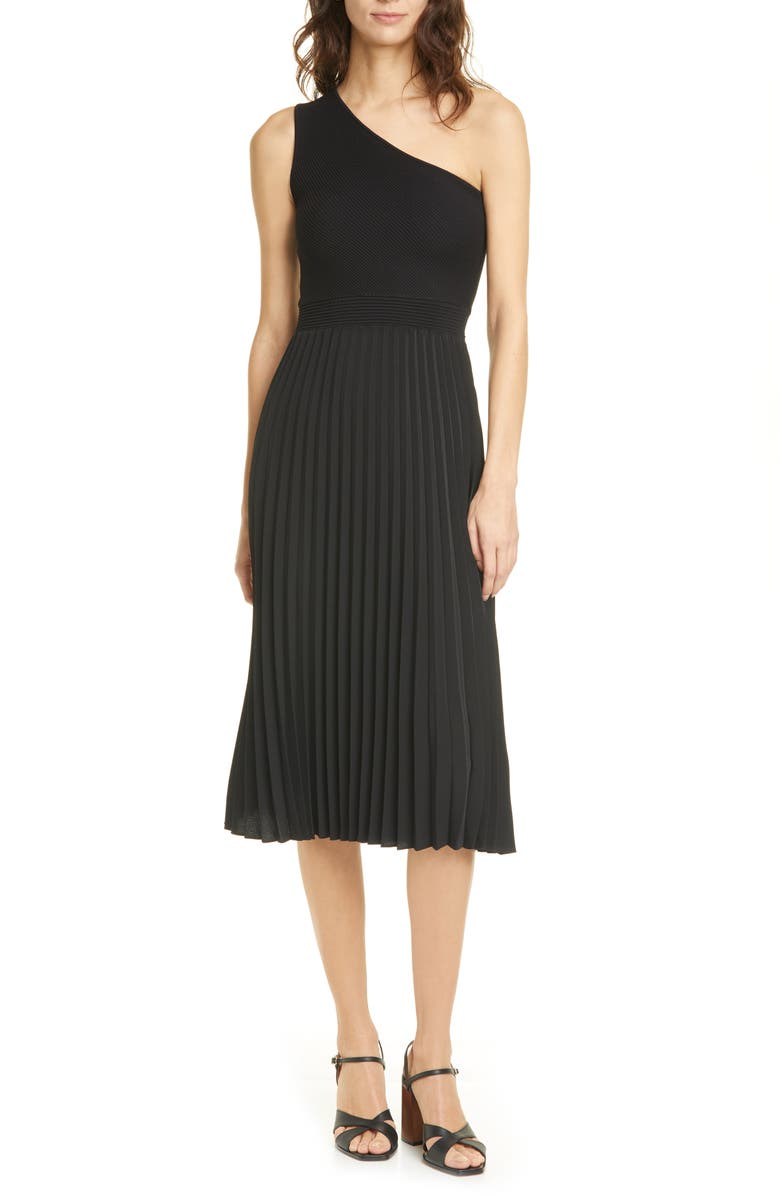 TED BAKER LONDON Miriom One-Shoulder Knit Midi Dress, Main, color, 001