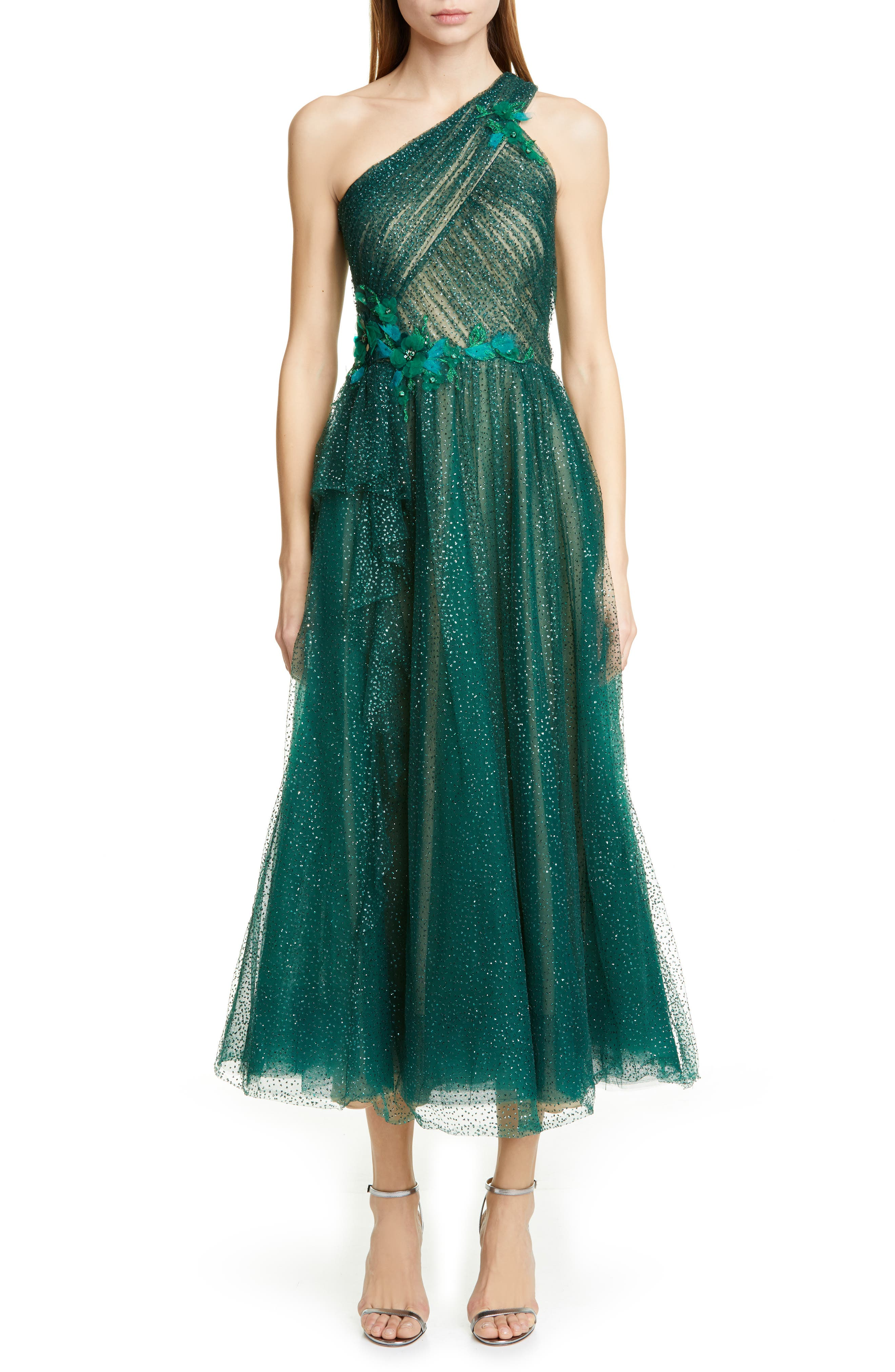 Marchesa Notte Glitter Tulle One-Shoulder Midi Dress