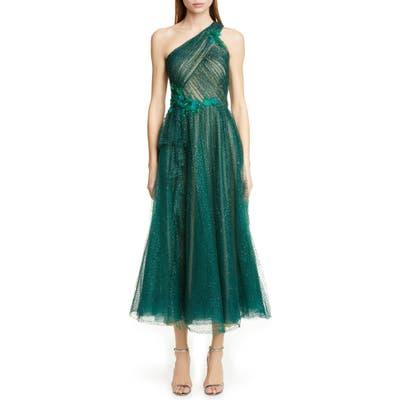 Marchesa Notte Glitter Tulle One-Shoulder Midi Dress, Green