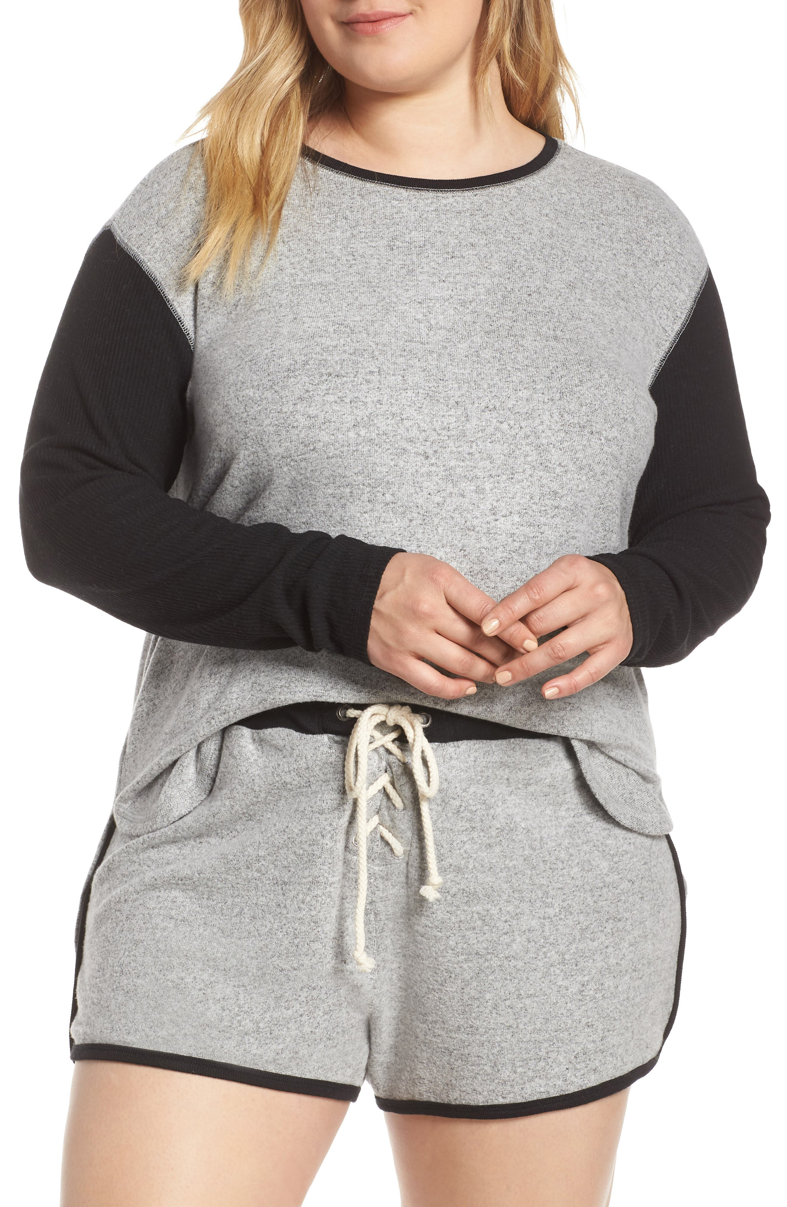 Plus Size Make + Model Game Point Short Pajamas, Grey