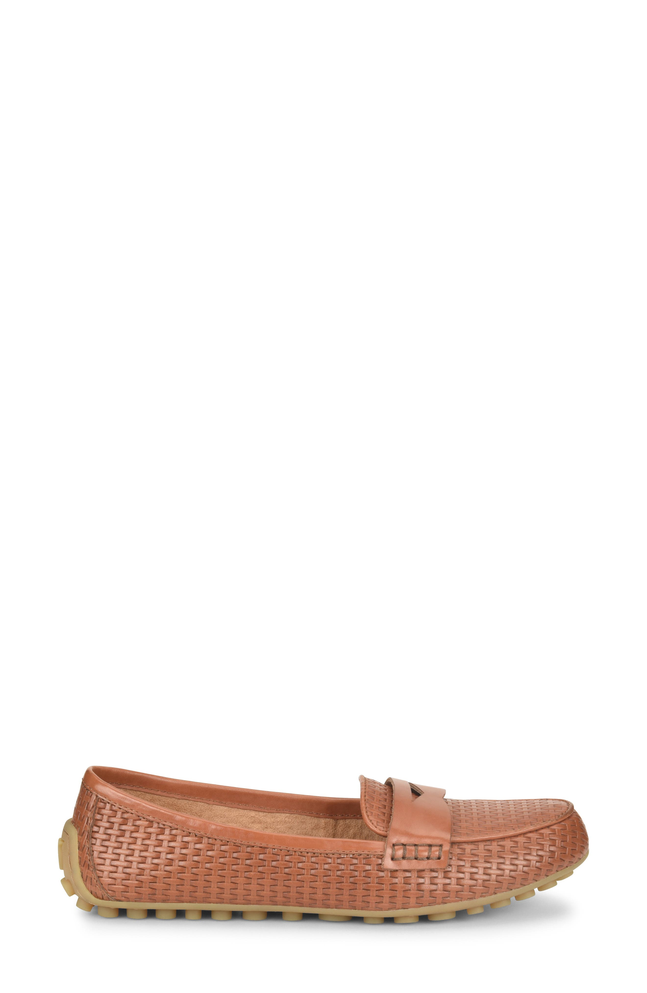 ,                             Malena Driving Loafer,                             Alternate thumbnail 3, color,                             BROWN WEAVE EMBOSSED LEATHER