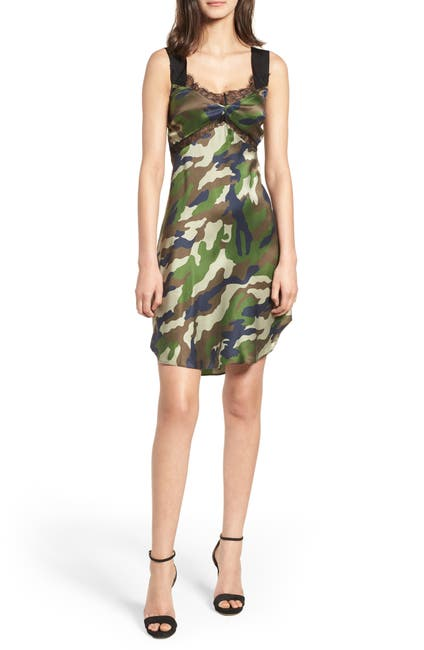 Image of KENDALL AND KYLIE Camo Slip Dress