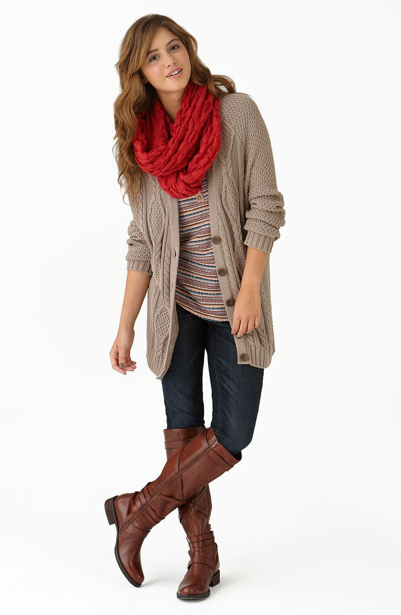 RUBBISH<SUP>®</SUP> Textured Check Infinity Scarf, Main, color, 030