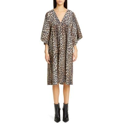 Ganni Leopard Print Oversize Cotton & Silk Midi Dress, Brown