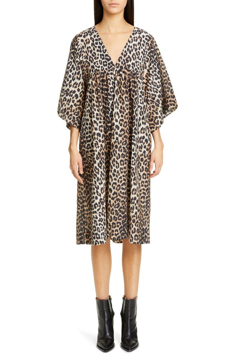GANNI Leopard Print Oversize Cotton & Silk Midi Dress, Main, color, 200