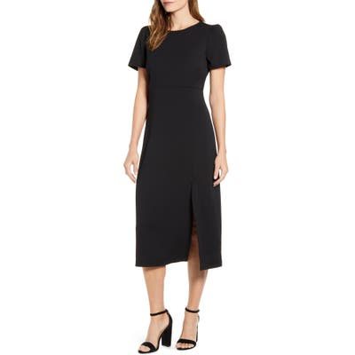 Petite Gibson X Fall Refresh Puff Sleeve Dress, Black