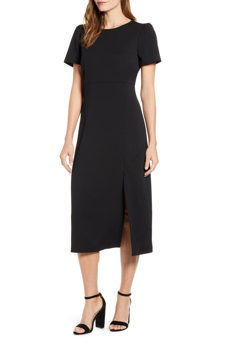 GIBSON x Fall Refresh Puff Sleeve Dress, Main, color, BLACK