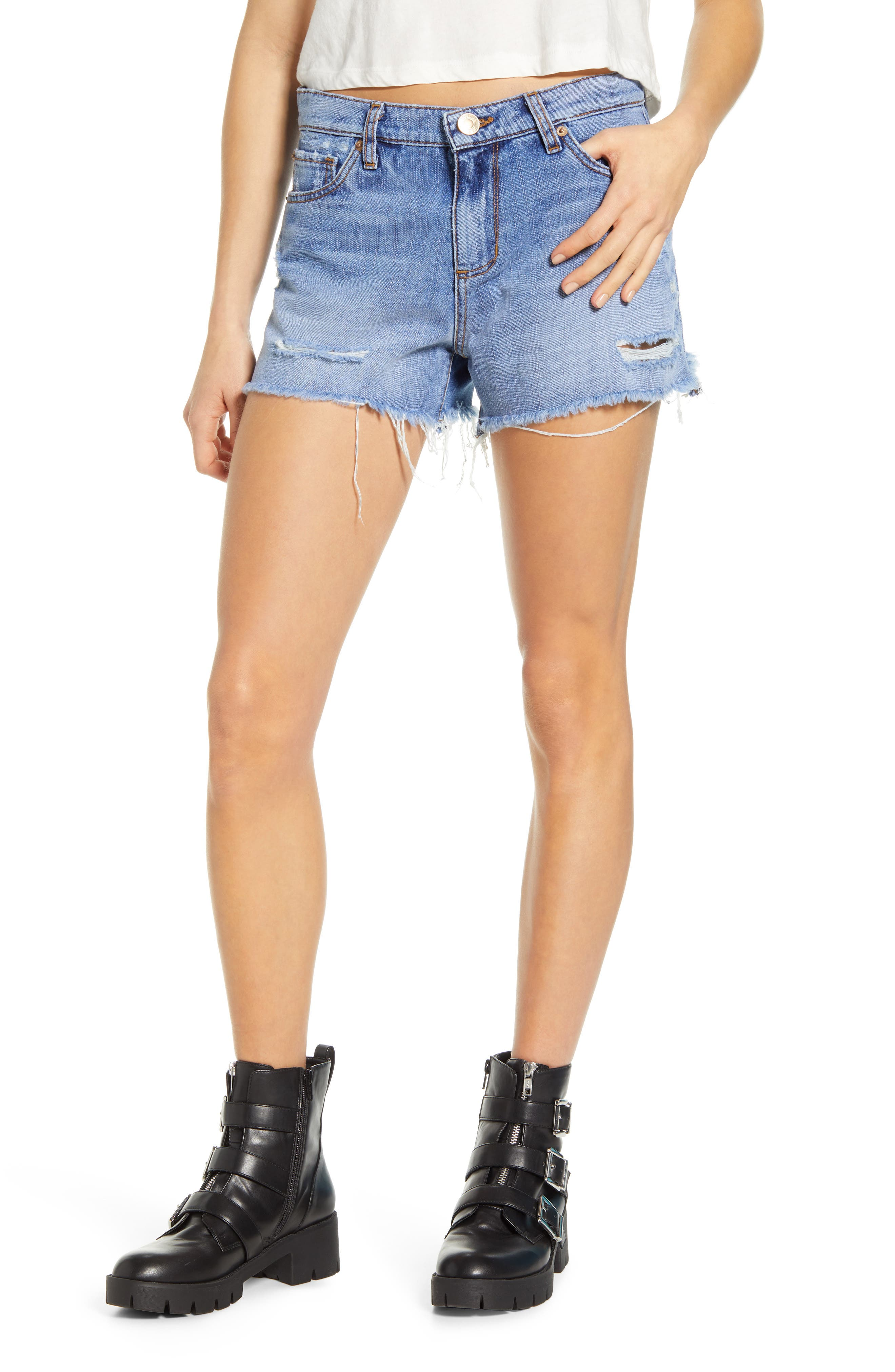 Image of STS BLUE Ripped High Waist Denim Shorts