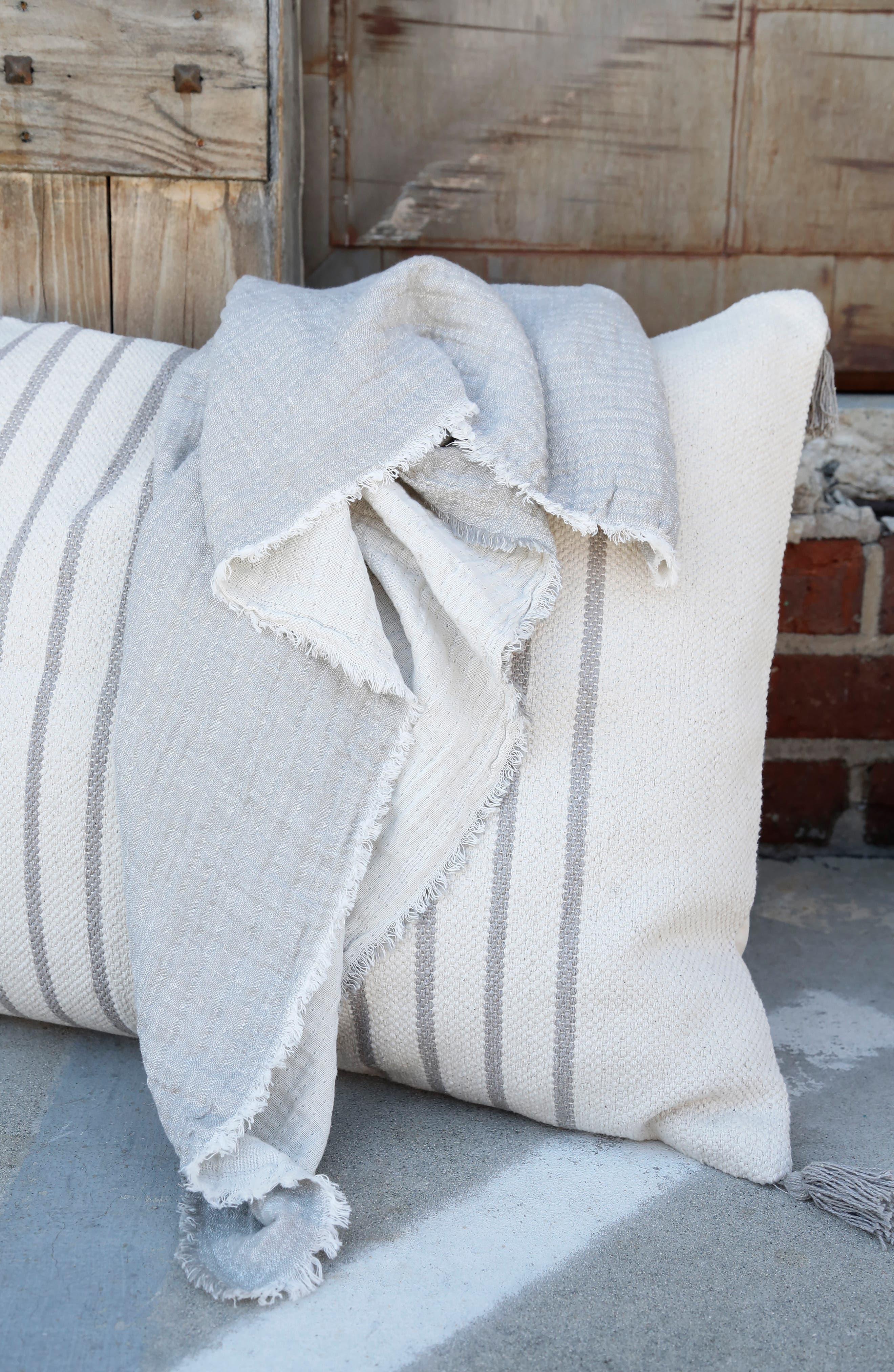 ,                             Hermosa Oversized Cotton & Linen Throw Blanket,                             Alternate thumbnail 3, color,                             LIGHT GREY/ CREAM
