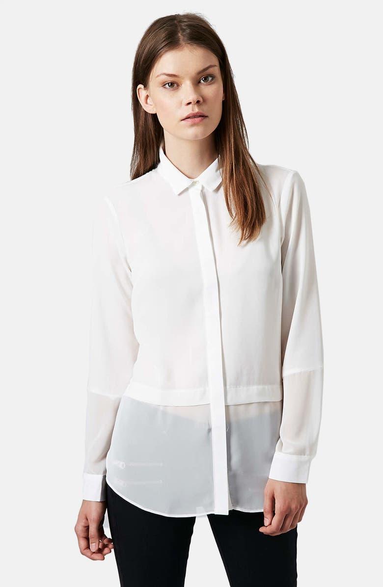 TOPSHOP Sheer Panel Shirt, Main, color, 100