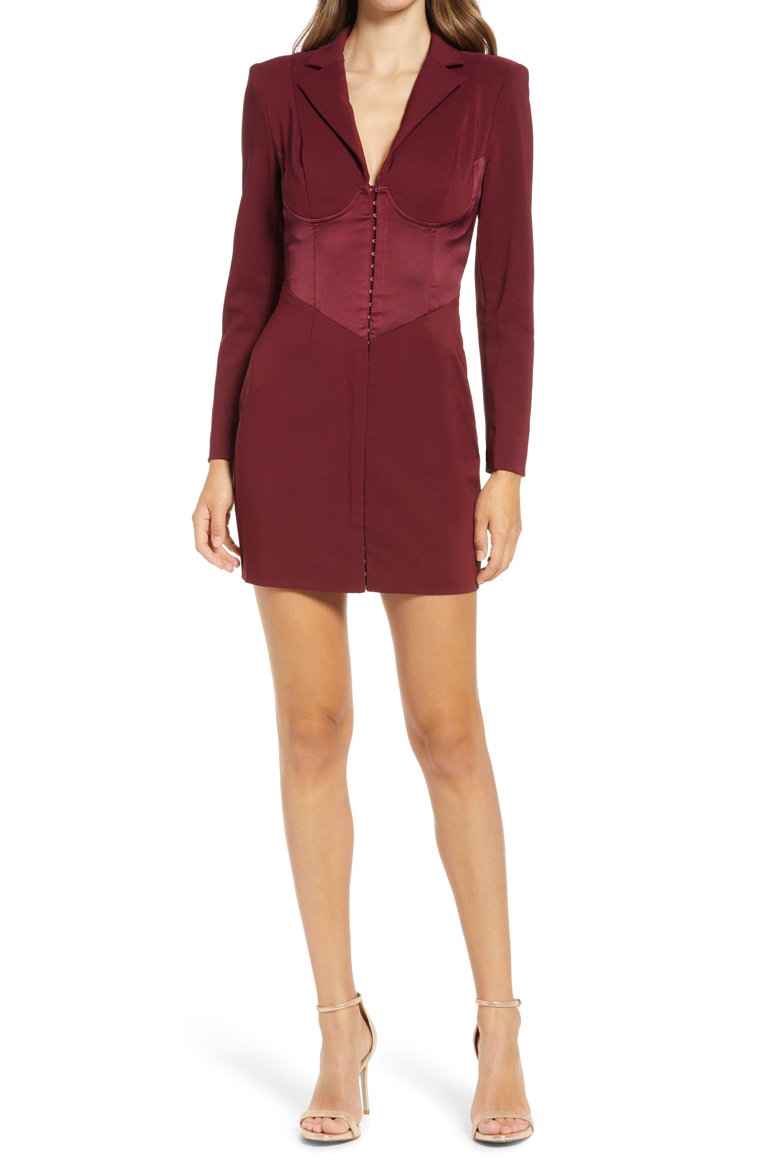 Mix Media Long Sleeve Coat Dress