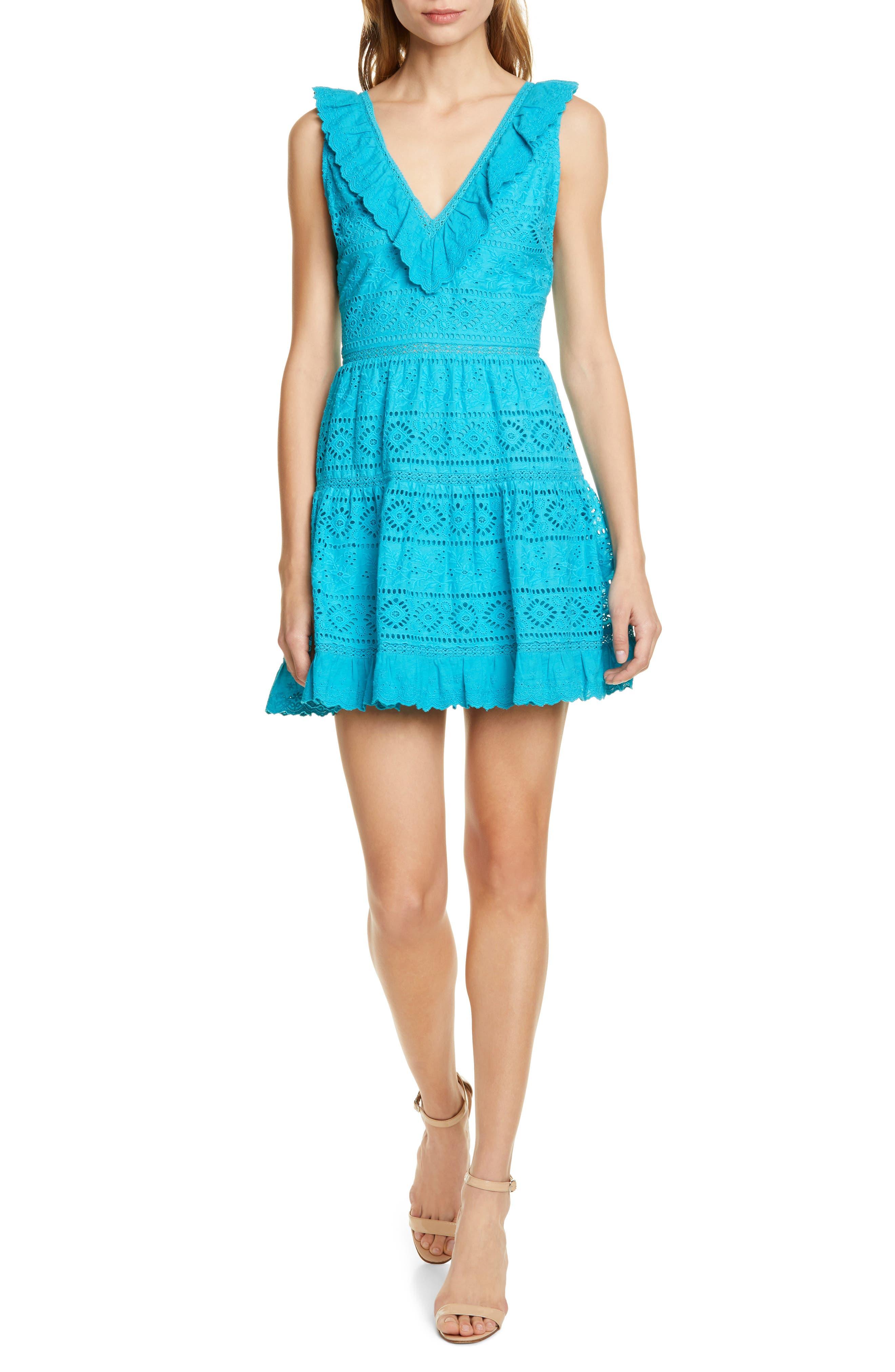 Alice + Olivia Cantara Ruffle Fit & Flare Eyelet Dress, Blue