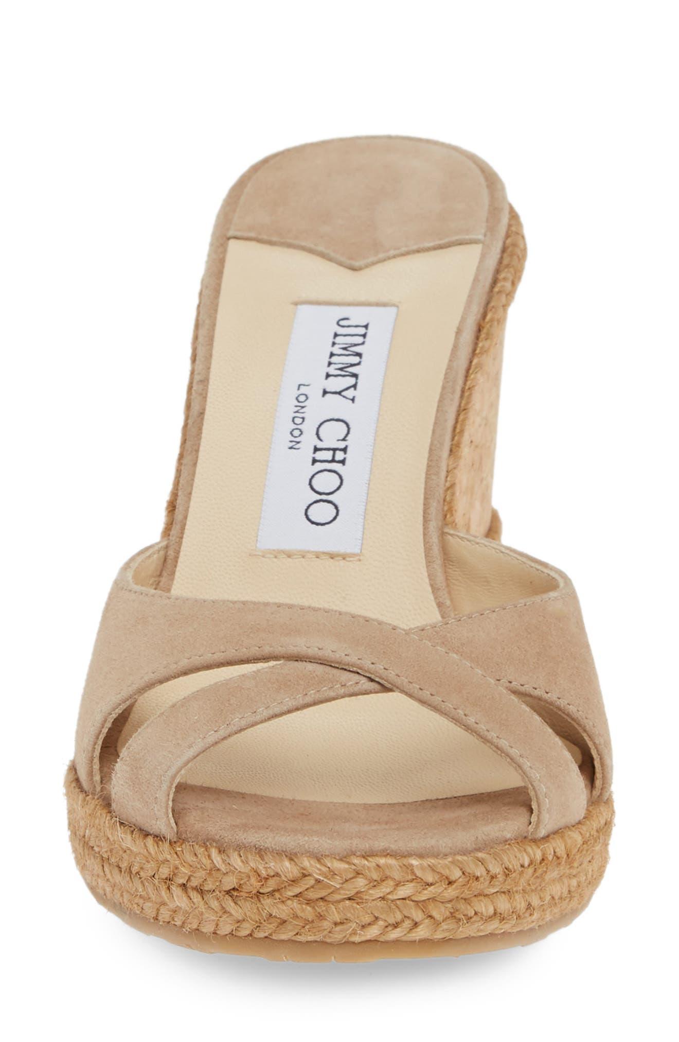,                             Almer Cork Wedge Sandal,                             Alternate thumbnail 4, color,                             NUDE SUEDE