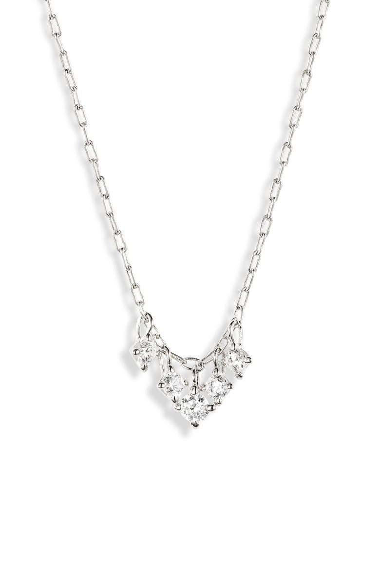 NADRI Issa Small Shaky Frontal Necklace, Main, color, RHODIUM