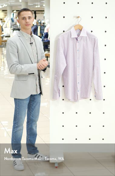 Slim Fit Check Print Dress Shirt, sales video thumbnail