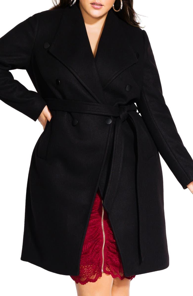 CITY CHIC Sultry Military Coat, Main, color, BLACK