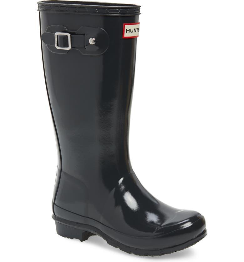 HUNTER Original Gloss Rain Boot, Main, color, DARK SLATE