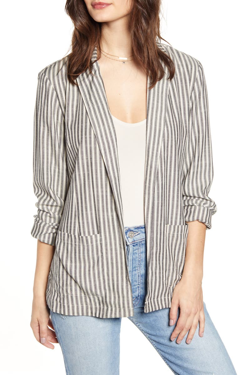 JACK by BB Dakota The Girlfriend Ticking Stripe Blazer, Main, color, IVORY