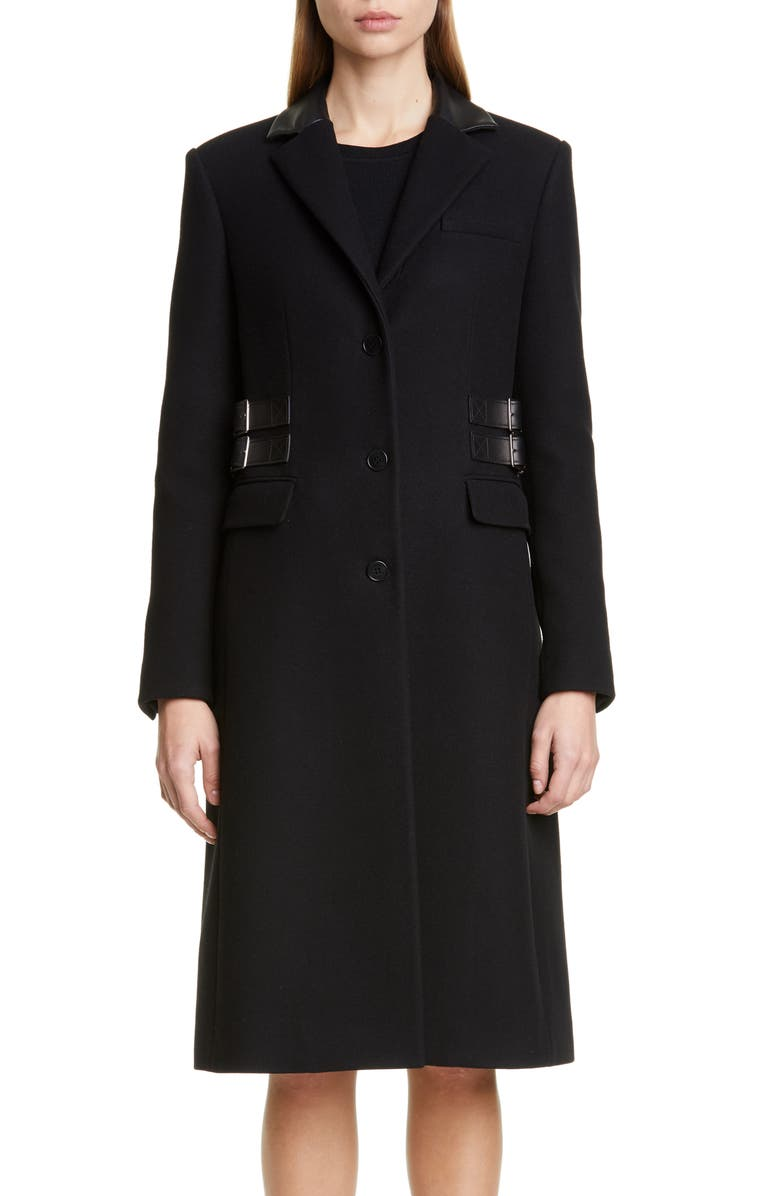 ALTUZARRA Leather Trim Wool Blend Coat, Main, color, BLACK