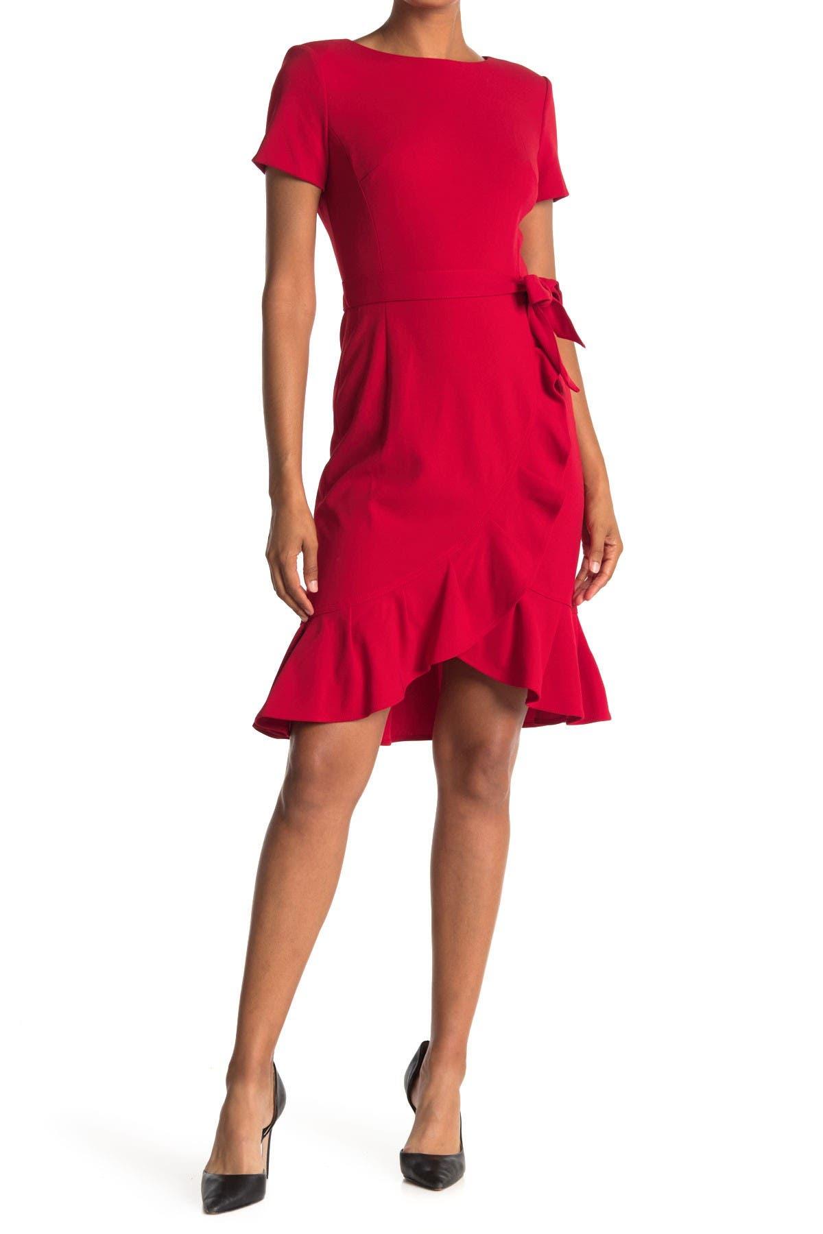 Image of Calvin Klein Belted Ruffle Hem Dress
