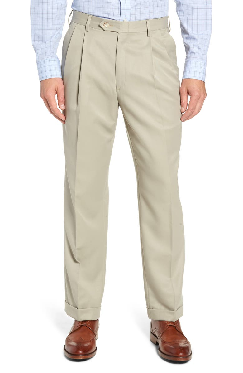 BERLE Classic Fit Pleated Microfiber Performance Trousers, Main, color, TAUPE
