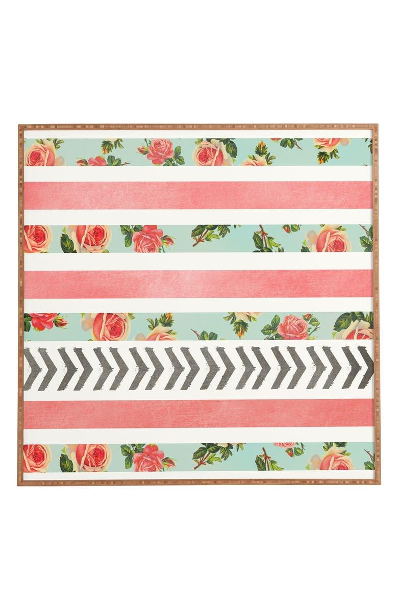 DENY DESIGNS 'Allyson Johnson - Floral Stripes & Arrows' Wall Art, Main, color, MULTI COLOR