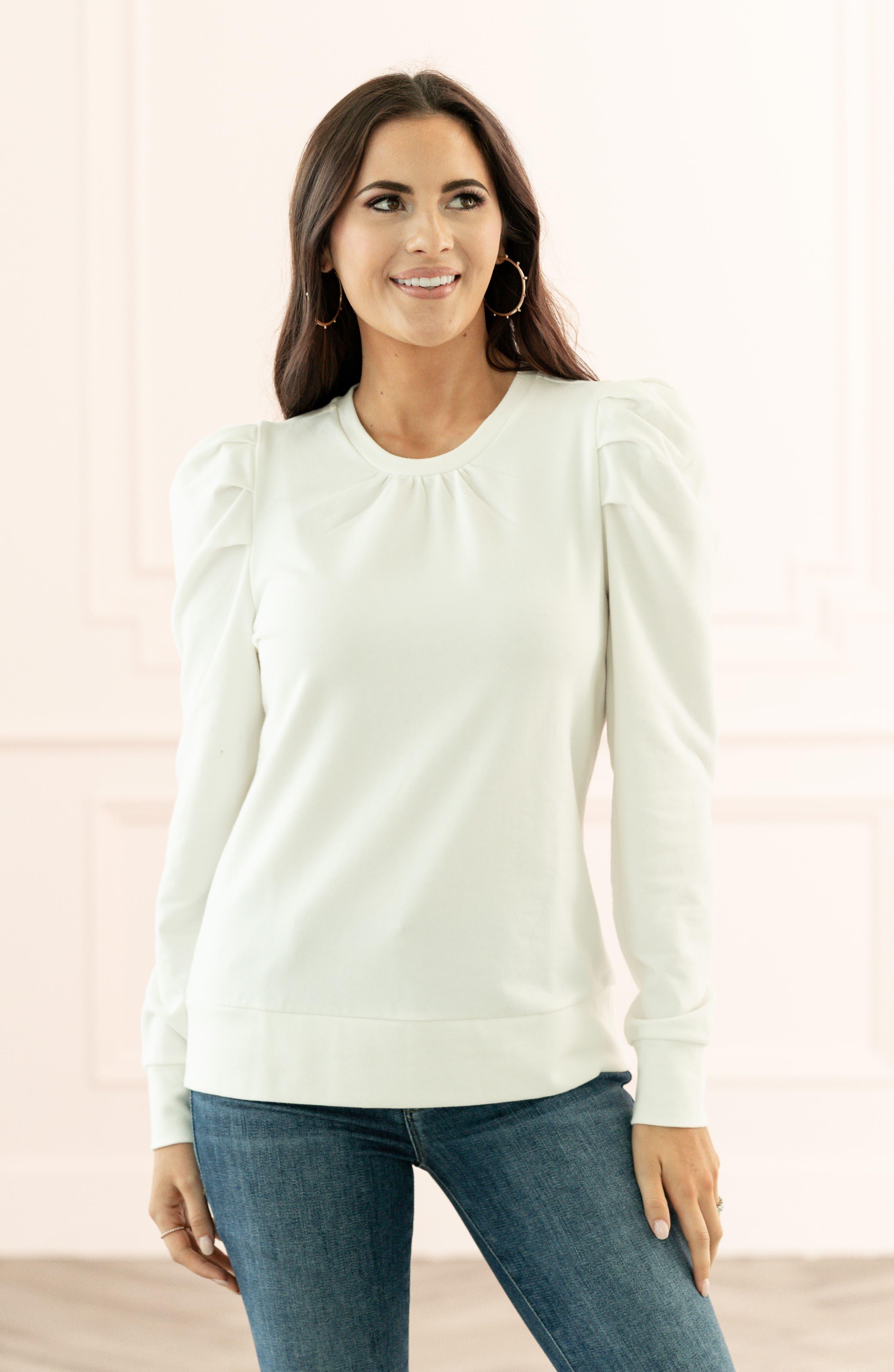 Rachel Parcell Puff Sleeve Sweatshirt (Nordstrom Exclusive)