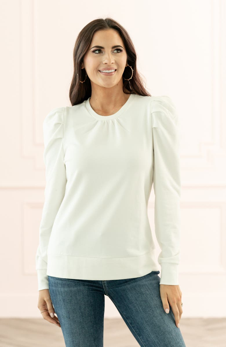 RACHEL PARCELL Puff Sleeve Sweatshirt, Main, color, IVORY CLOUD