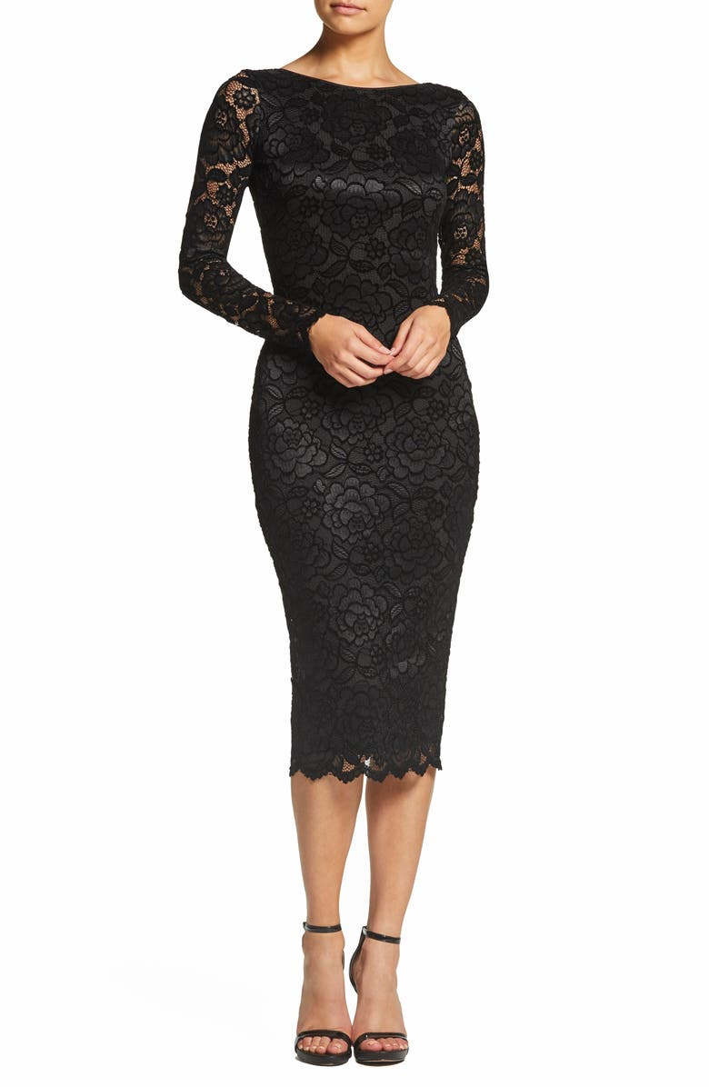 DRESS THE POPULATION Emery Stretch Lace Body-Con Dress, Main, color, BLACK/ CHARCOAL