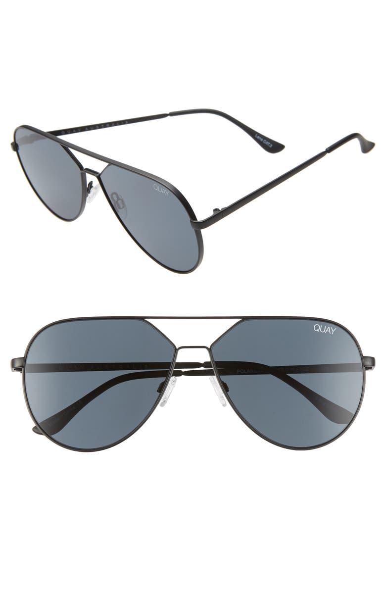 QUAY AUSTRALIA x Lizzo Hold Please 55mm Aviator Sunglasses, Main, color, BLACK/ SMOKE