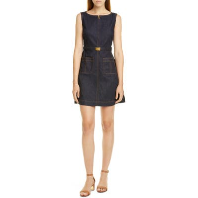 Tory Burch Zip Front Sleeveless Denim Minidress, Blue
