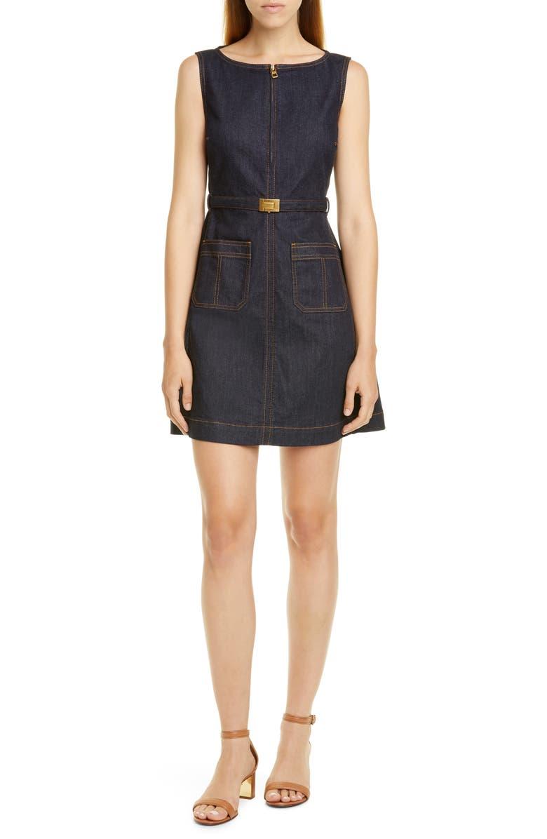 TORY BURCH Zip Front Sleeveless Denim Minidress, Main, color, RESIN RINSE