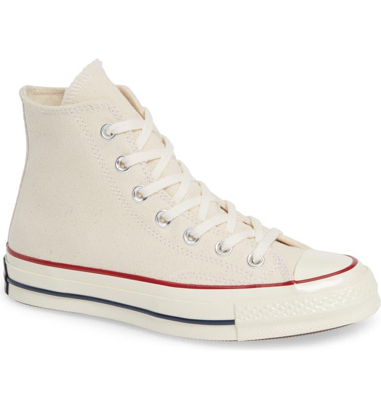 CONVERSE Chuck Taylor<sup>®</sup> All Star<sup>®</sup> Chuck 70 High Top Sneaker, Main, color, PARCHMENT/ GARNET/ EGRET
