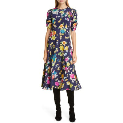Etro Floral Print Ruched Sleeve Midi Dress, US / 48 IT - Blue
