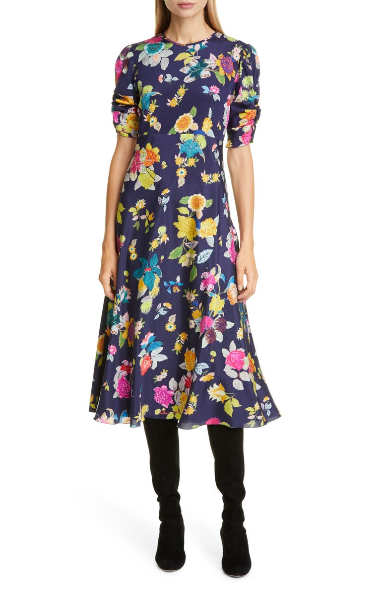 ETRO Floral Print Ruched Sleeve Midi Dress, Main, color, NAVY