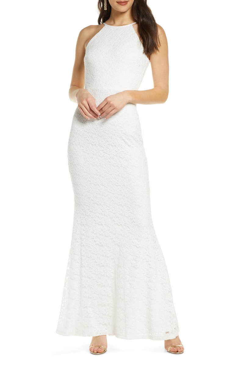 LULUS Ephemeral Lace Trumpet Gown, Main, color, WHITE