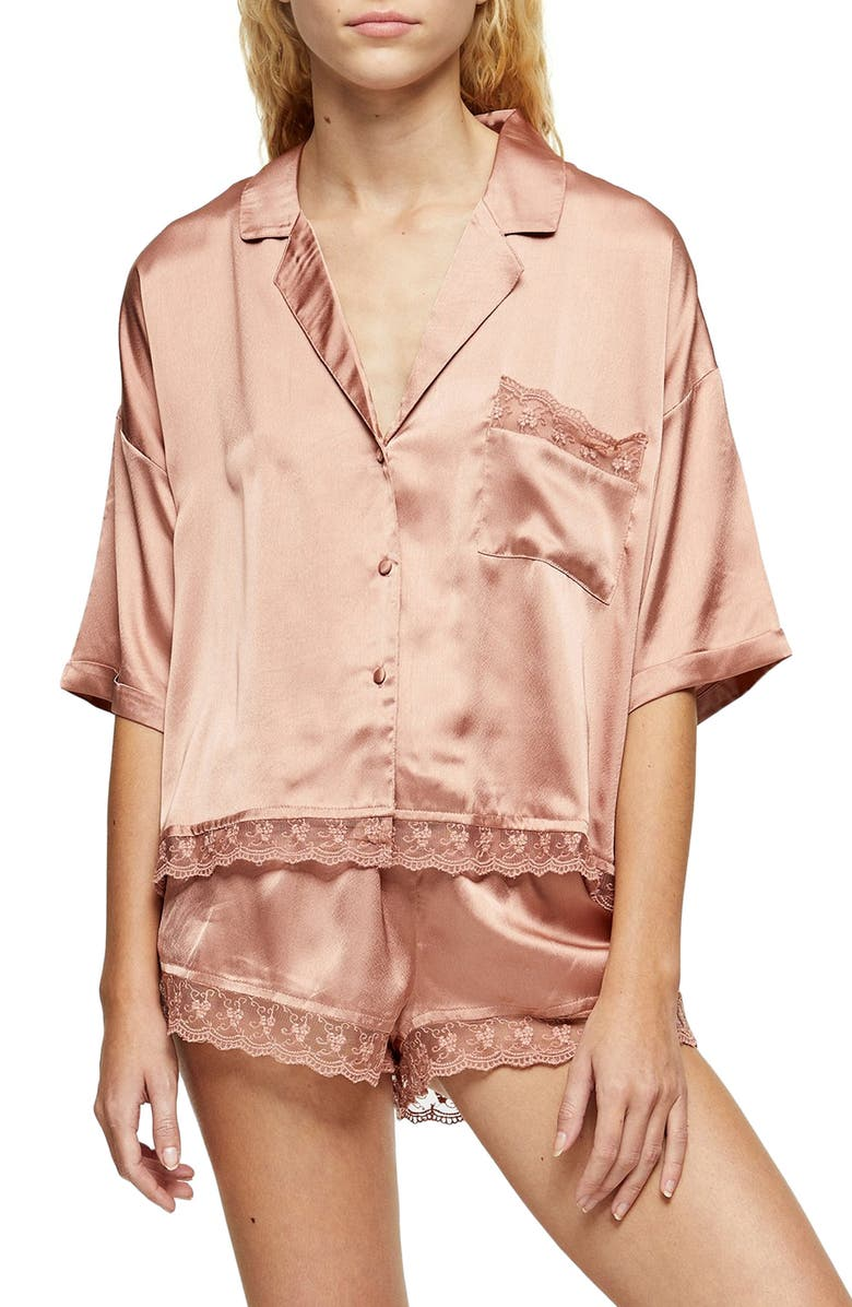 TOPSHOP Lace Trim Satin Pajamas, Main, color, 650