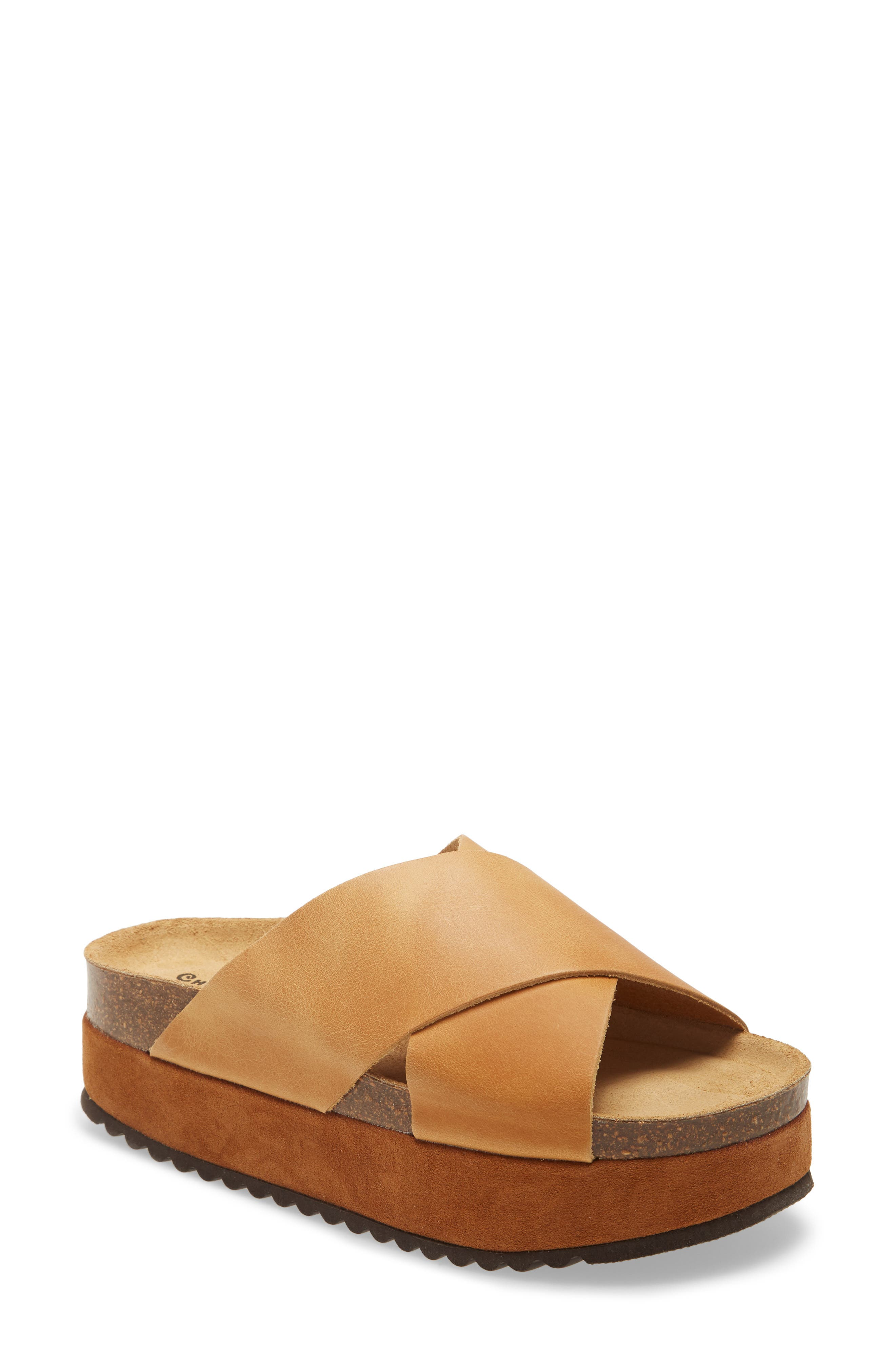 A real cork midsole and toothy rubber tread lay the foundation for a suede flatform with crisscrossed straps of smooth leather. Style Name: Chocolat Blu Lillian Platform Slide (Women). Style Number: 5987308. Available in stores.