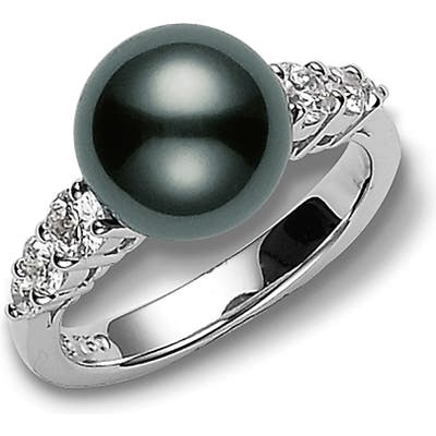 Mikimoto Morning Dew Black South Sea Pearl & Diamond Ring