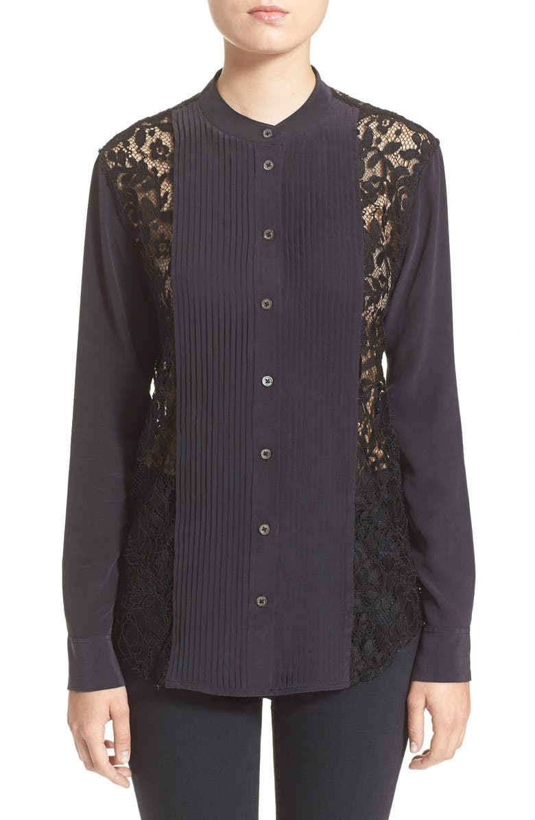 EQUIPMENT Lace Panel Tuxedo Shirt, Main, color, 003